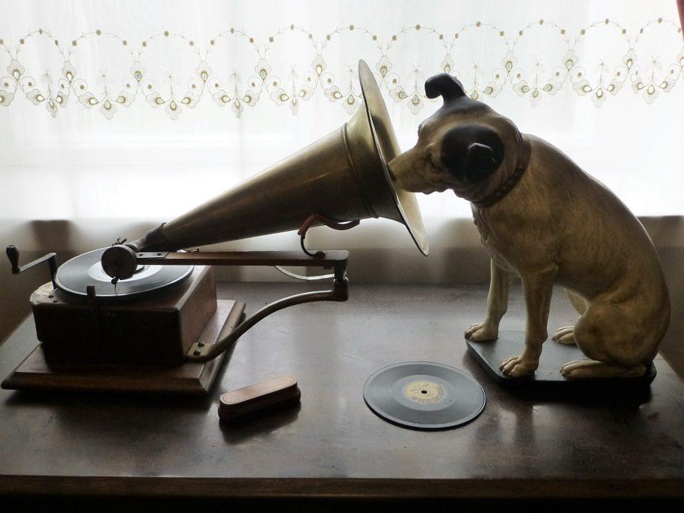 vanha levysoitin ja koira vintage