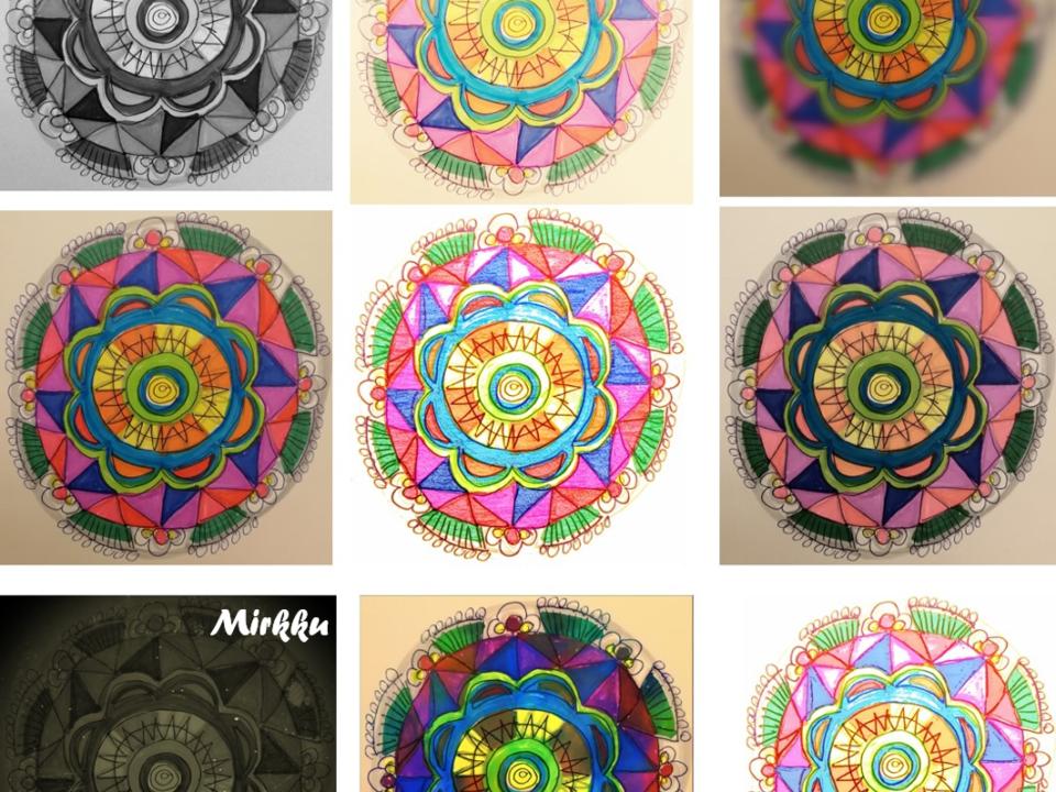 9 elämää tilkkukuvitus värit