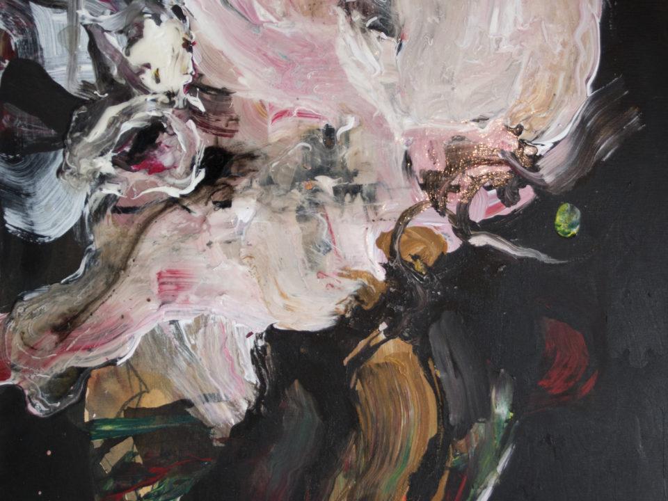 maalaus vaaleanpunainen musta tausta