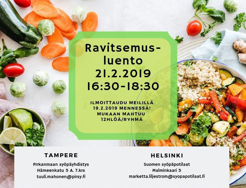 [Tampere ja Helsinki] Työssä jaksamista tukeva ravitsemus