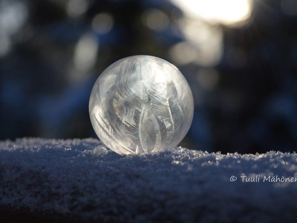 jäädytetty kupla lumihangella