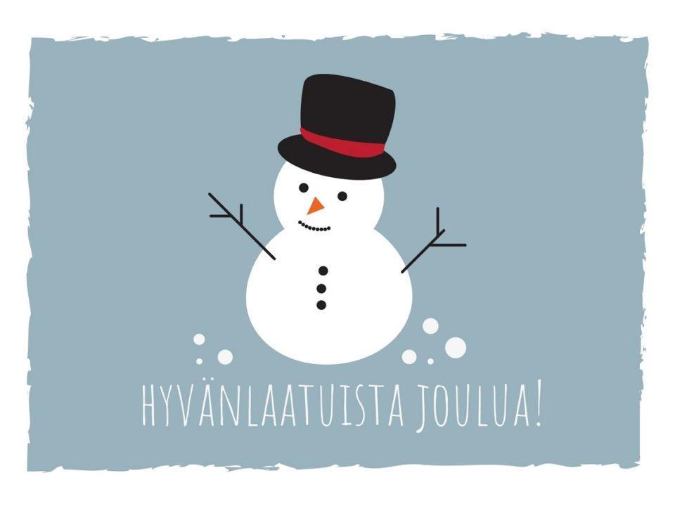 lumiukko musta silinterihattu päässä teksti hyvänlaatuista joulua