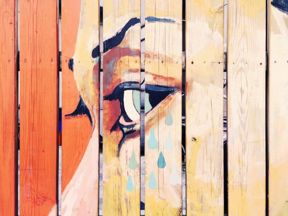 lähikuva naisen kasvoista maalattuna seinälle