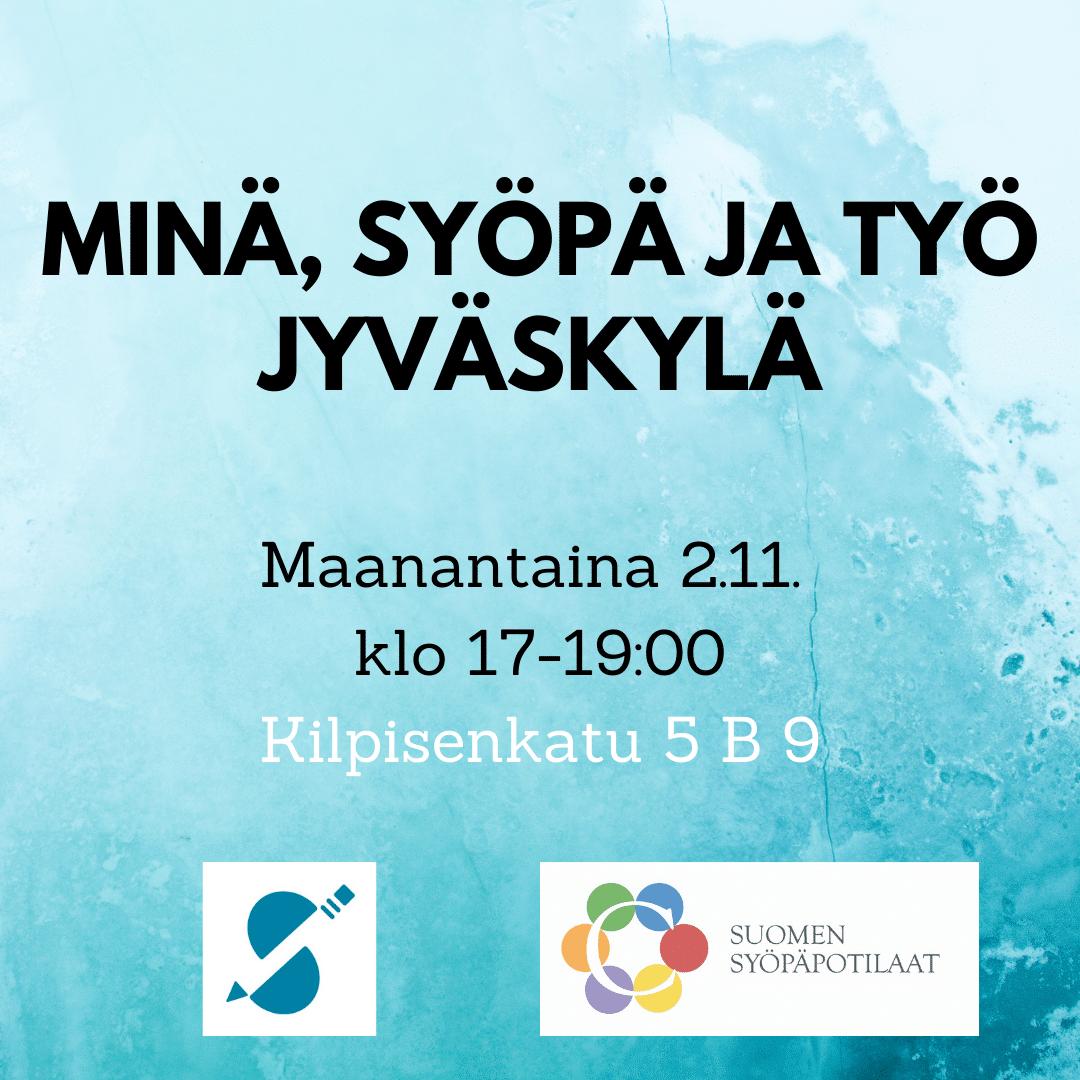 Minä, syöpä ja työ -ilta Jyväskylässä -mainos