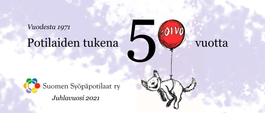 suomen syöpäpotilaat ry:n 50-vuotisjuhlavuoden banneri